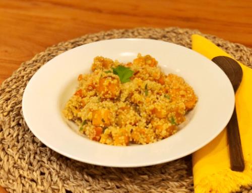 Quinoa Salat Rezept mit Süßkartoffel und Petersilie
